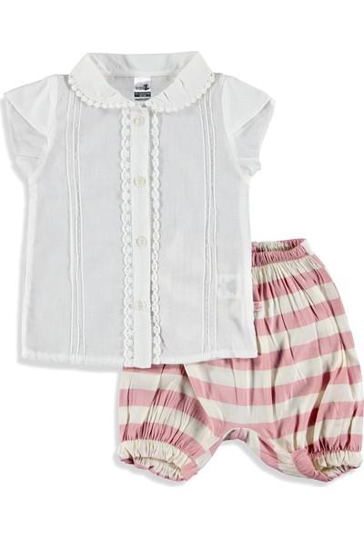 Baby Z Dantelli Çizgili Kız Bebek 2'li Takım