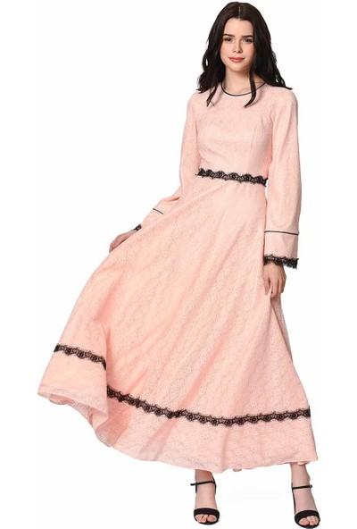 Mizalle Dantel Şerit Detaylı Abiye Kadın Elbise