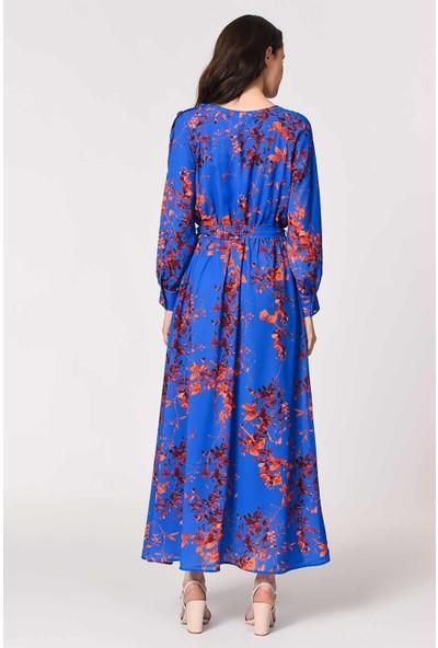 Mizalle Desenli Omuz Düğmeli Kadın Elbise