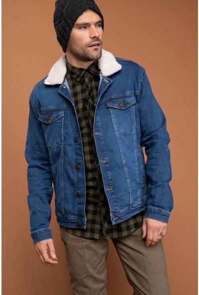 Defacto Erkek Çıkarılabilir Kürk Yakalı Slim Fit Denim Ceket