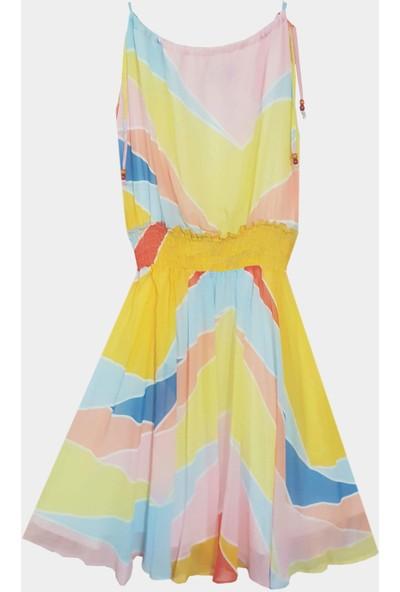 Coten Concept Kadın Omuzdan Bağlamalı Renkli Elbise