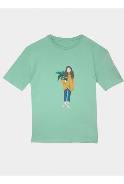 Coten Concept Kadın Kız Baskılı Bisiklet Yaka T-Shirt