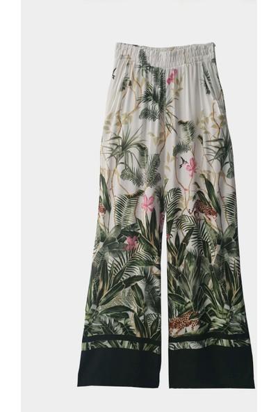 Coten Concept Kadın Yaprak Desenli Pantolon