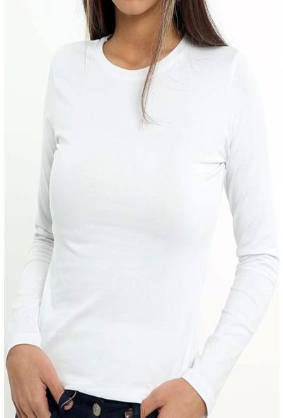 Tutku Elit 2203 Kadın Uzun Kol Beyaz Fanila