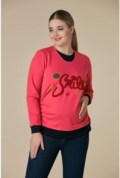 Gör&Sin Smile Havlu Nakış Detaylı Hamile Sweatshirt Mercan
