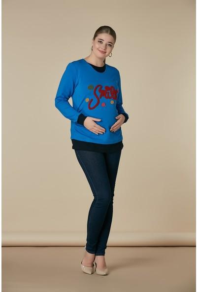 Gör&Sin Smile Havlu Nakış Detaylı Hamile Sweatshirt Saks