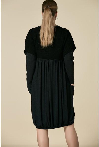 Gör&Sin Trikolu Örme Hamile Elbise Siyah