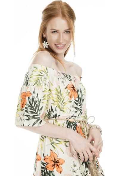 Lela Desenli Carmen Yaka Elbise Kadın Elbise 23431001