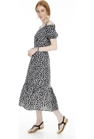 Lela Eteği Volenli Kadın Elbise 5202215