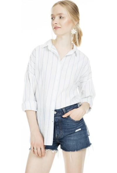 Lela Çizgili Kadın Gömlek MK19S161975