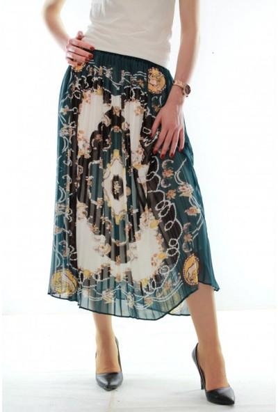 Vitrin Piliseli Uzun Çiçek Desenli Kadın Şifon Etek
