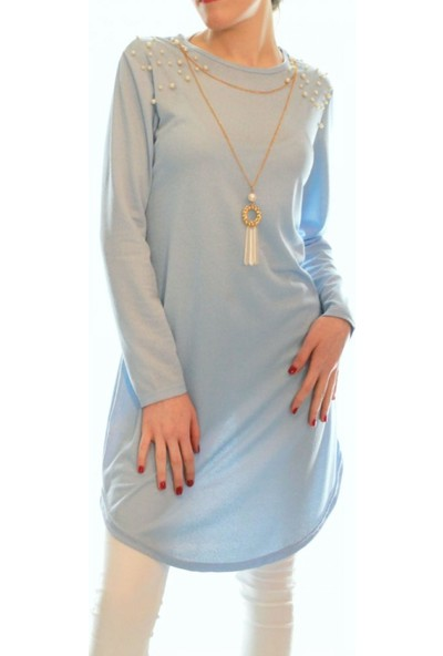 Nefise İnci Detay Bebe Mavisi Kolyeli Tunik