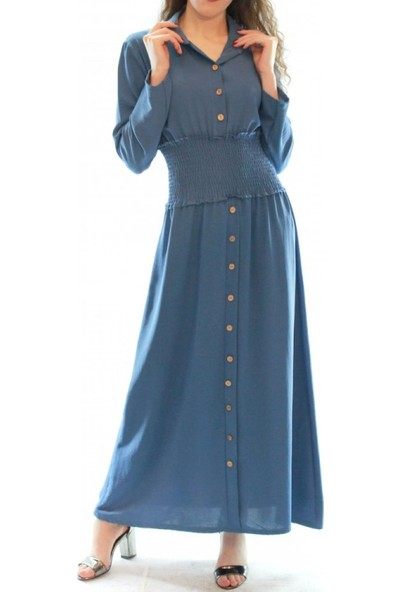 Gülins Uzun Tesettür Elbise Gömlek Yaka İndigo Mavi Beli Lastikli