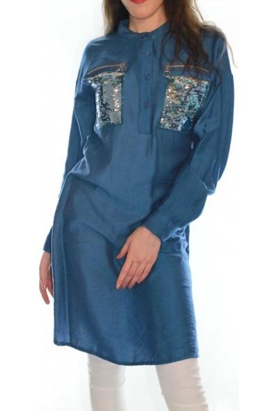 Nefise Ceplleri Payetli Tunik Indigo Mavi