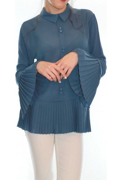 Gülins Kadın Gülins Eteği ve Kolları Piliseli Kadın Bluz Gömlek İndigo Mavi