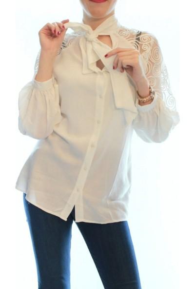Buketli Kol Detaylı Bağlamalı Beyaz Gömlek