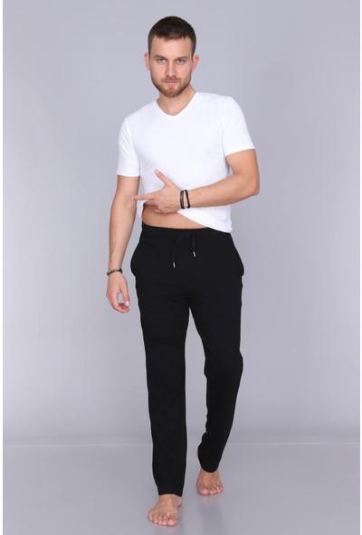 Obje Erkek Siyah Likralı Uzun Pijama Altı