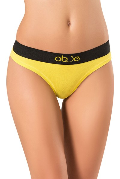 Obje Kadın Penye Modal String Külot - Sarı
