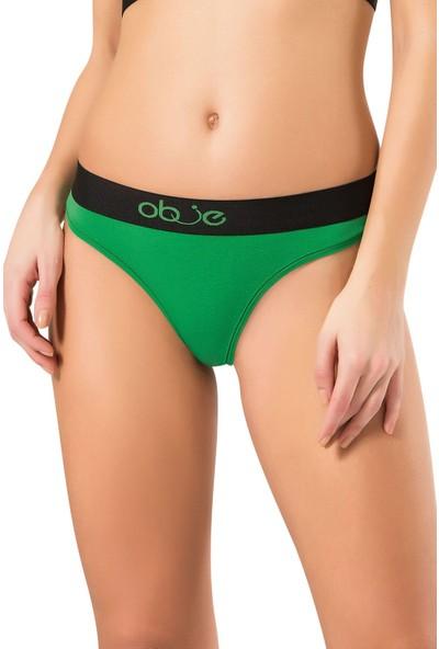 Obje Kadın Penye Modal String Külot - Yeşil