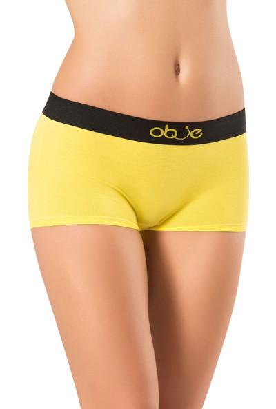Obje Kadın Penye Modal Boxer - Sarı