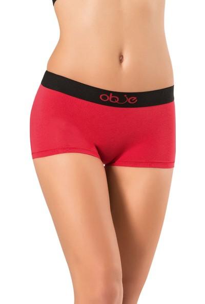 Obje Kadın Penye Modal Boxer - Kırmızı