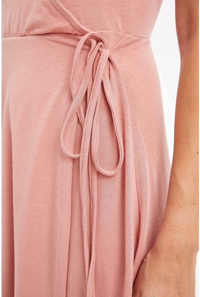 Defacto Kadın Kruvaze Yaka Örme Elbise