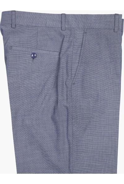 Hateko Klasik Kesim Filafil Açık Gri & Mavi Kumaş Pantolon