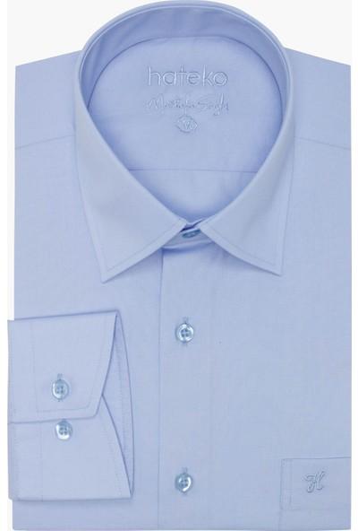 Hateko Klasik Kesim Açık Mavi Erkek Gömlek