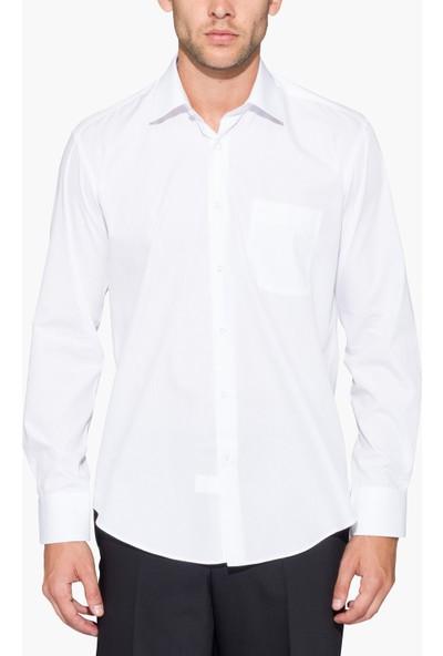 Hateko Klasik Kesim Beyaz Erkek Gömlek