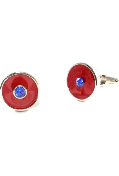 Blora Mavi Taşlı Kırmızı Daire Kol Düğmesi