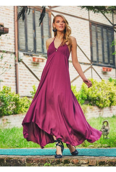 Clandestino Kadın Sırt Dekolteli Şık Bohem Elbise