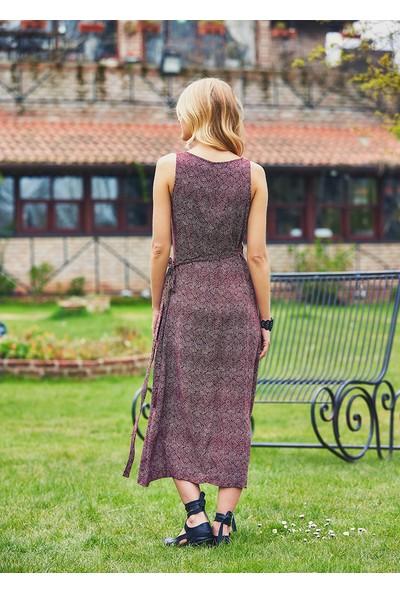 Clandestino Kadın Desenli Kruvaze Bohem Elbise