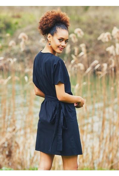 Clandestino Kadın Kruvaze Mini Bohem Elbise