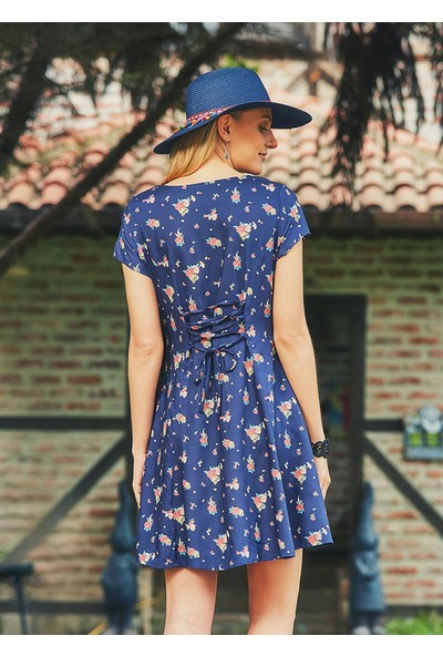 Clandestino Kadın Çiçekli Günlük Mini Otantik Elbise