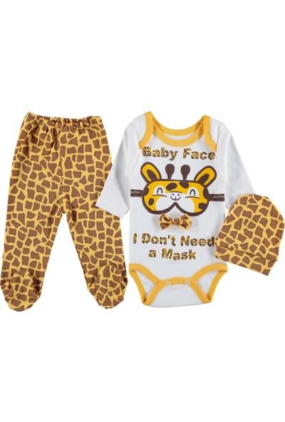 Şinimini Zürafa Desenli Fiyonklu Bebe Takım