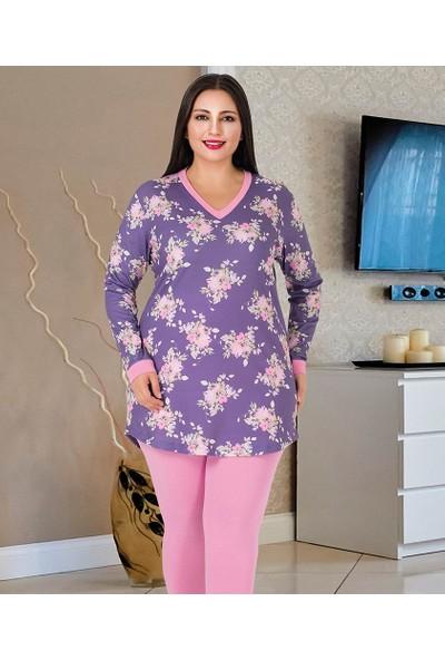 Lady Lingerie Çiçek Baskılı Battal Kadın Pijama Takım 187