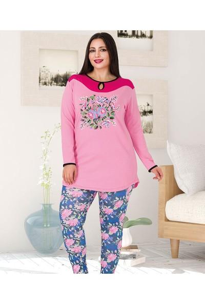 Lady Lingerie Çiçek Baskılı Battal Kadın Pijama Takım 188