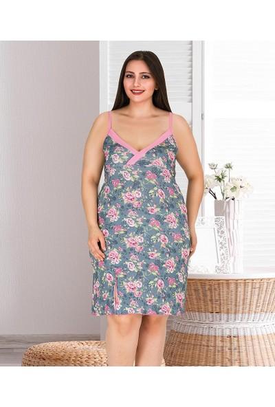 Lady Lingerie İp Askılı Çiçek Desenli Battal Kadın Tunik 6635