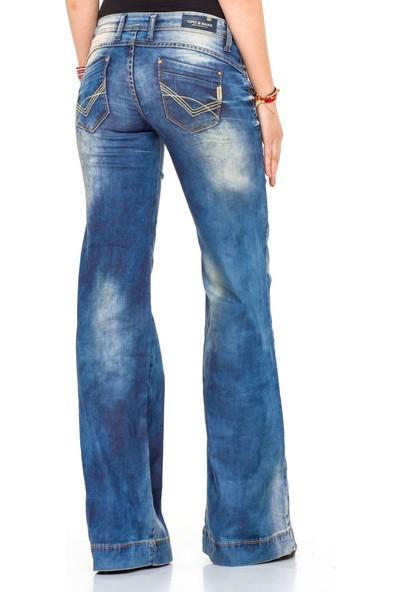 Cipo&Baxx CBW-0424 Düşük Bel Bol Paça Mavi Kadın Kot Pantolon
