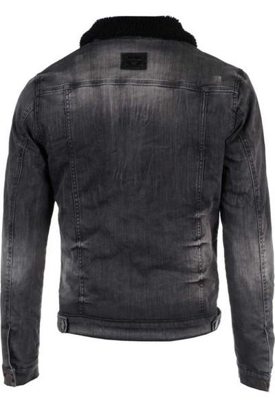 Cipo&Baxx CJ239 Siyah Kürklü Eskitilmiş Denim Slim Fit Jeans Erkek Kot Ceket