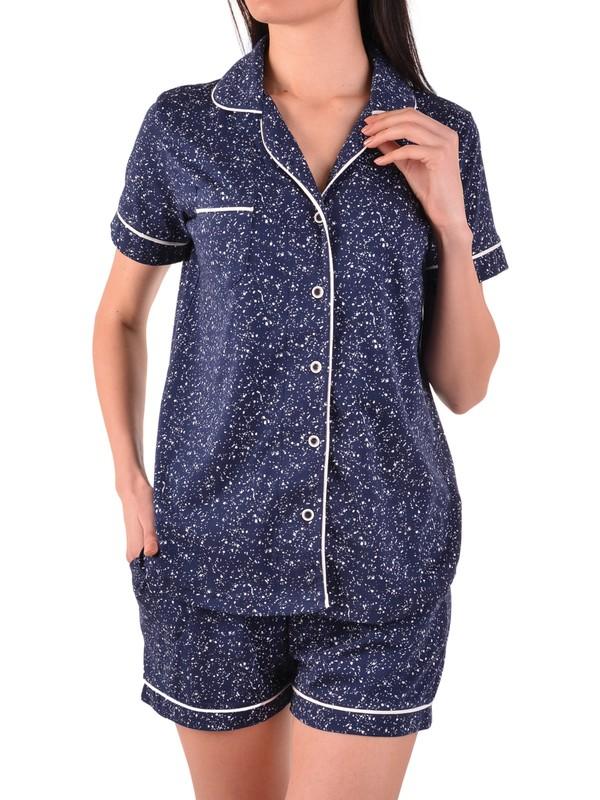 Nicoletta Kadın Şortlu Pijama Takımı Kısa Kollu Düğmeli Pamuk