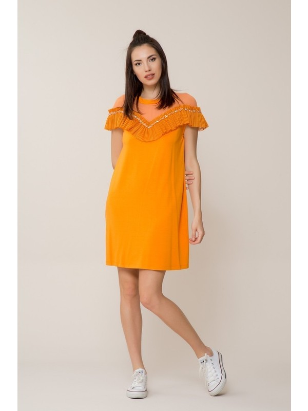 GIZIA Turuncu Mini Spor Elbise