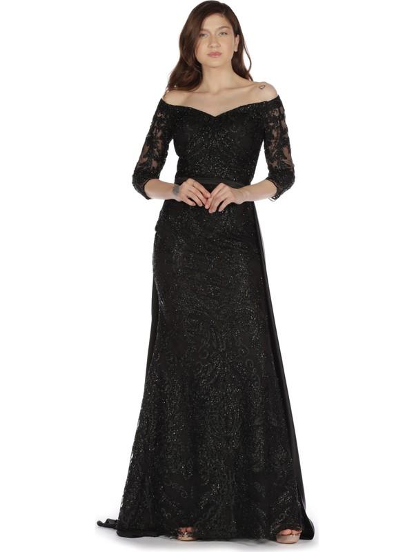 Pierre Cardin Siyah Simli Dantel Payet İşlemeli Abiye Elbise