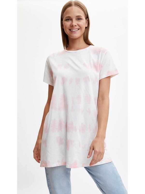 DeFacto Kısa Kollu Uzun T-shirt L6801AZ19HS