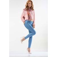 Enimon Esnek Kot Görünümlü Tayt Pantolon - Buz Mavi
