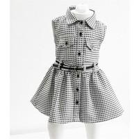 Varol Kids Kareli Kız Çocuk Elbisesi Beyaz 1 - 5 Yaş