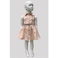 Varol Kids Kareli Kız Çocuk Elbisesi Pudra 1 - 5 Yaş