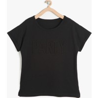 Koton Kız Çocuk Desenli T-Shirt Siyah