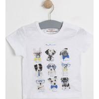 Soobe Mini Man Erkek Bebek Kısa Kol T-Shirt Beyaz