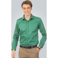 Tudors Dar Kesim Gömlek Yeşil Cotton Athena